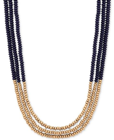 3 strand beaded necklace lucky brand two tone three strand beaded necklace in black