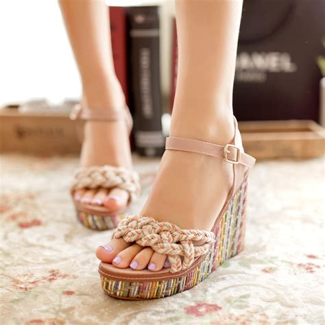straw braid platform open toe shoe knitted wedges high