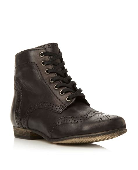 dune pretenders lace up brogue boots in brown lyst