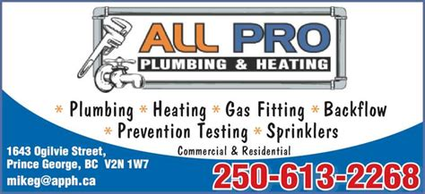 Plumbing In Bc by All Pro Plumbing Heating Prince George Bc 1904