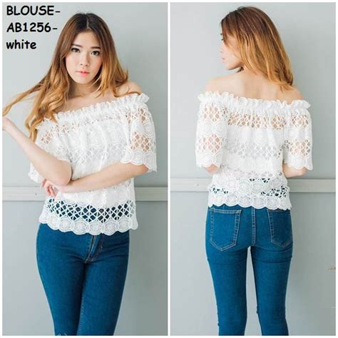 Welin White Blouse Baju Blus Sabrina Atasan Fashion jual baju blus blouse cold shoulder top sabrina kaos murah seller