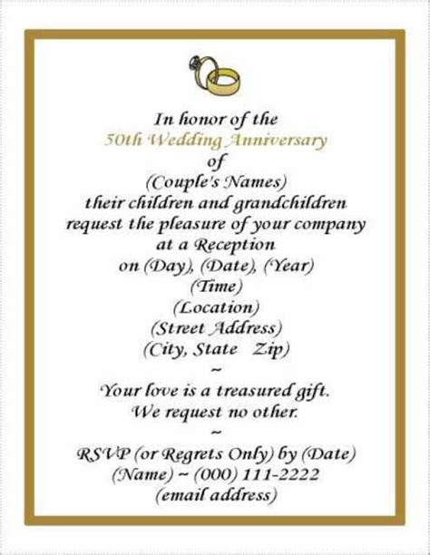 wedding anniversary invitation templates 50th wedding anniversary invitations free templates