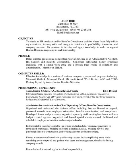 Objective For Resume Administrative Assistant by Sle Admin Assistant Resume 9 Exles In Word Pdf