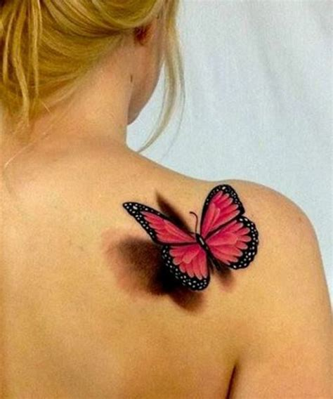 picture of red 3d butterfly on the right shoulder