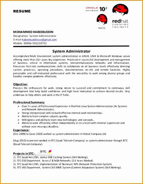 system administrator resume format doc fresh 9 resume format for fresher free sles exles