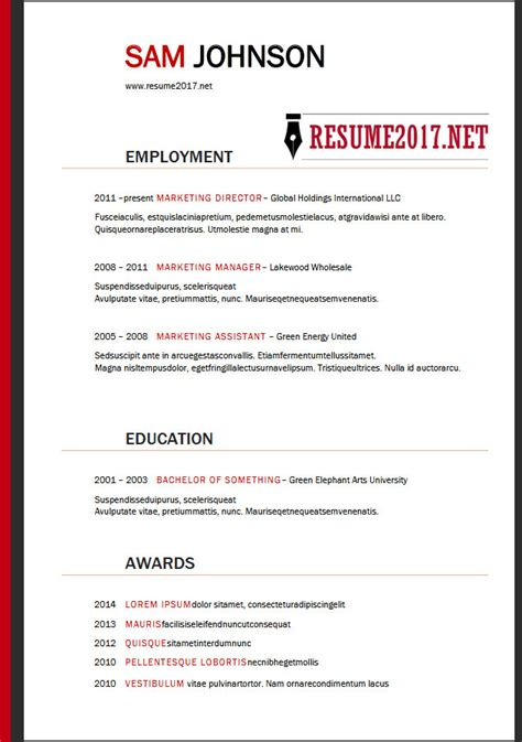 template resume free 2018 resume format 2018 16 templates in word