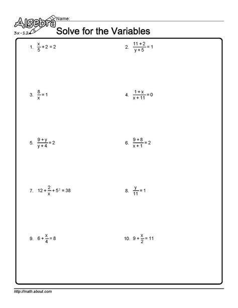 Isolating Variables Worksheet