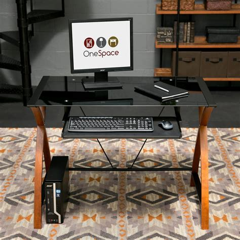 Wood Desk With Keyboard Tray by Onespace Black Glass And Wood Computer Desk With Pullout