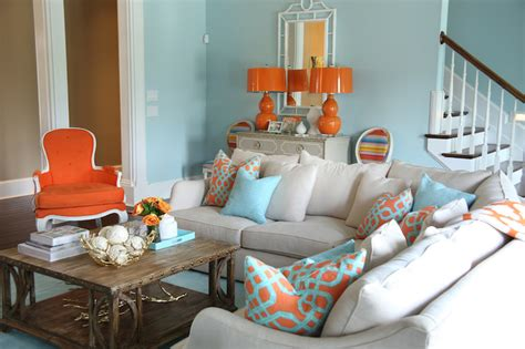 Grey Blue Orange Living Room by Orange And Blue Living Room Design Ideas