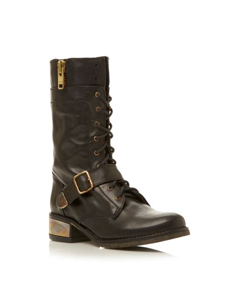 madden boots black steve madden lolly instep buckle worker boots in black