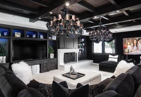gorgeous black  white multi media family room