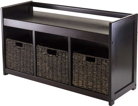 addison storage bench addison choclate storage bench with 3 foldable baskets from winsomewood coleman