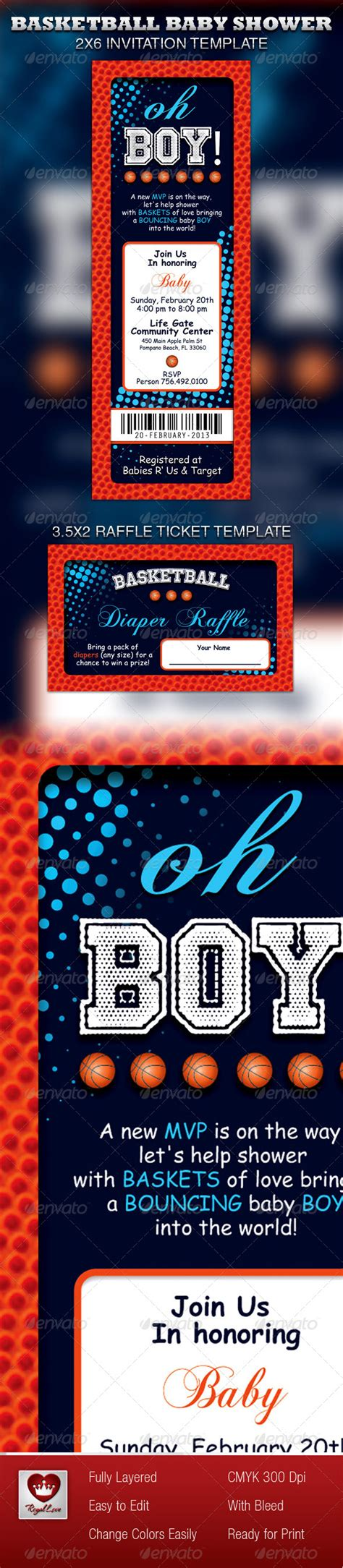 Basketball Baby Shower Invitation Raffle Ticket Graphicriver Basketball Baby Shower Invitation Templates