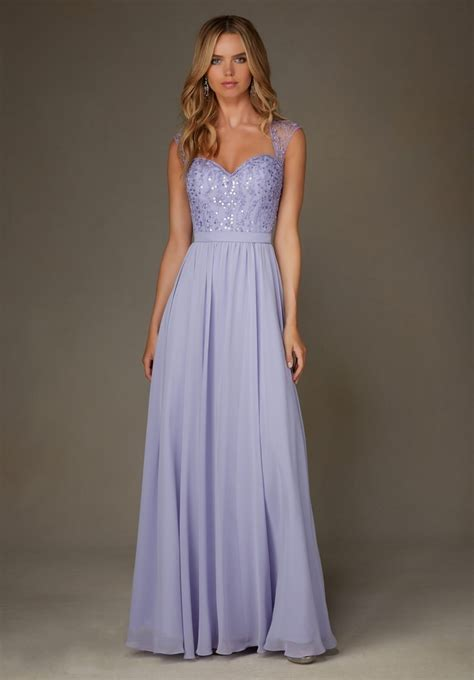 Bridesmaid Dresses by Sparkly Light Purple Lilac Open Back Cap Sleeves Chiffon