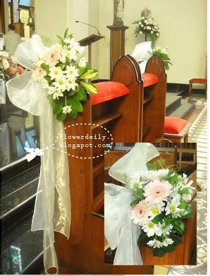 simple pink colored wedding church decor flower daily