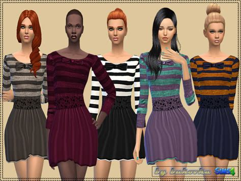 js sims 4 bow collar dress sims 4 bow dress bukovka s dress bow and stripes