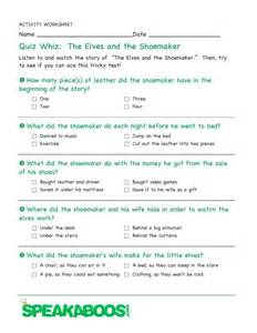 quiz whiz the elves and the shoemaker speakaboos worksheets