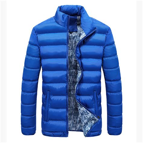Stand Collar Padded Coat mens thick winter stand collar coat padded solid color big