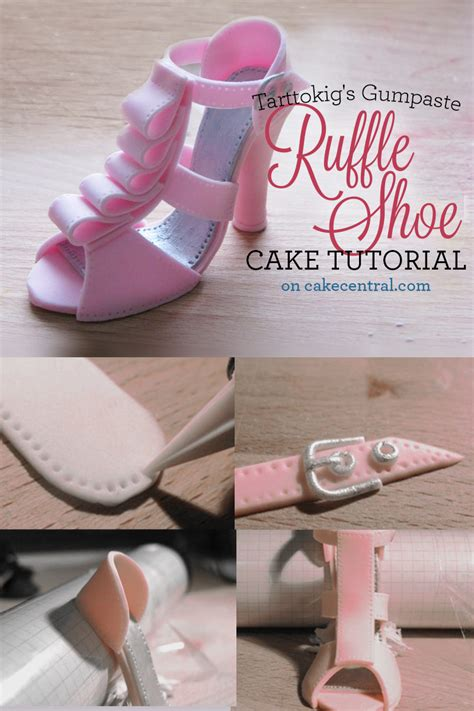 gumpaste ruffled high heel cake topper tutorial
