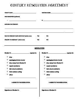 Conflict Resolution Agreement Form Freebie By Tania Mader Tpt Mediation Checklist Template