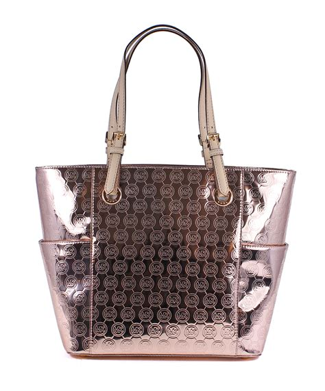 Fossil Satchel Handbag Multi Signature Print Leather 2in1 Hardware michael kors jet set east west signature mirror metallic gold tote bag new ebay