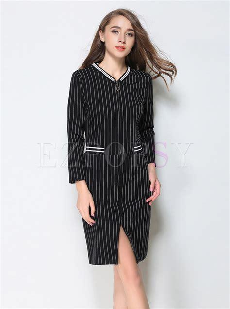 Sleeve Striped V Neck Dress exquisite v neck sleeve striped dress ezpopsy