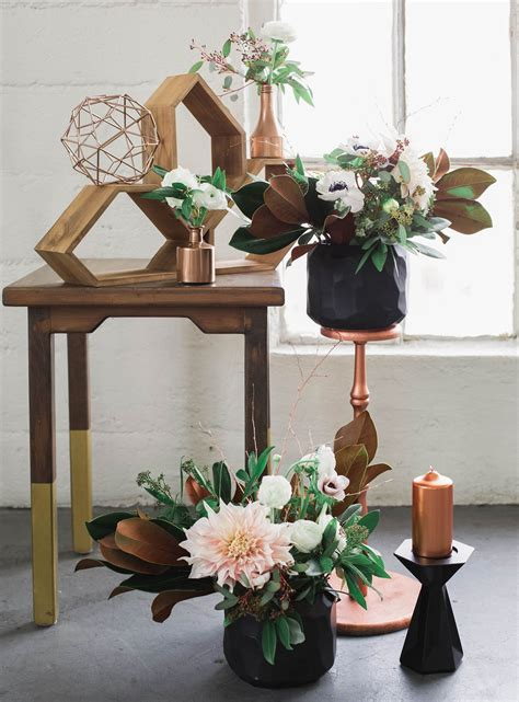 copper decorations industrial elegant copper wedding inspiration green
