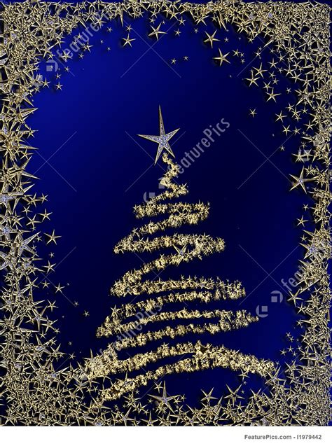 holidays starry christmas tree  blue background stock illustration   featurepics