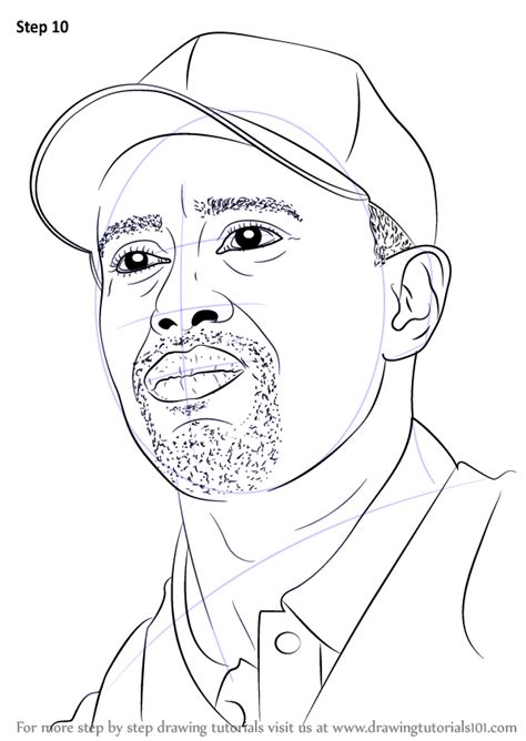 tiger woods coloring page step by step how to draw tiger woods drawingtutorials101 com
