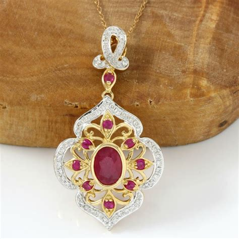 14 82 Ct Blood Ruby 14k yellow gold 1 25 ct oval shape cut pigeon