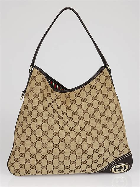 Gucci Britt Medium Purse by Gucci Beige Gg Canvas Britt Medium Hobo Bag Yoogi