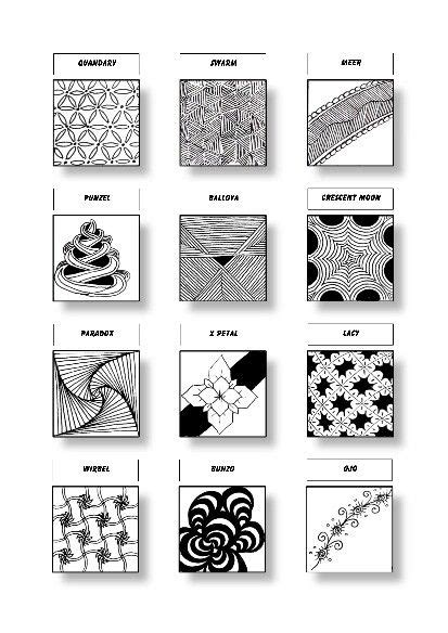 zentangle pattern meer zentangle pattern sheet 8 patterns quandary swarm meer