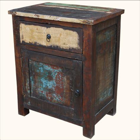 Distressed Nightstand Rustic Reclaimed Wood Distressed Nightstand Bedside End