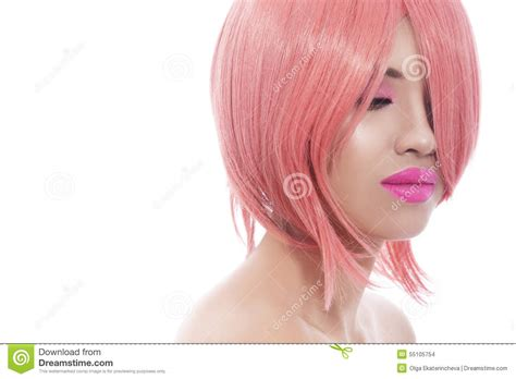 white girl bob haircut pink bob haircut stock photo image 55105754