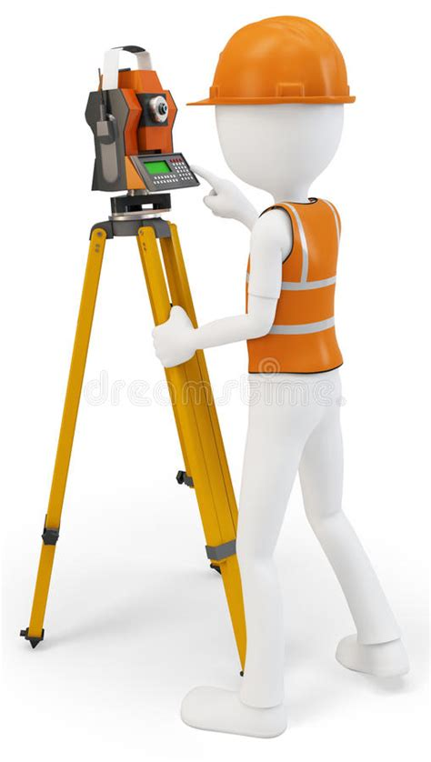 stock illustration of 3d man with safety equipment on 3d man surveyor with station hardhat and safety vest