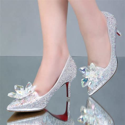 2016 cinderella bridal shoes with rhinestones and crystals