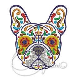 machine embroidery design calavera french bulldog dia