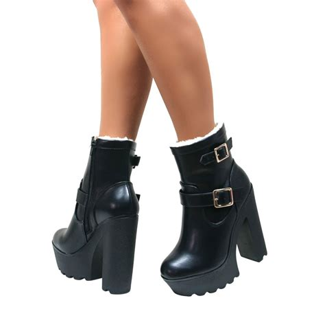 chunky block high heel platform ankle cleated sole
