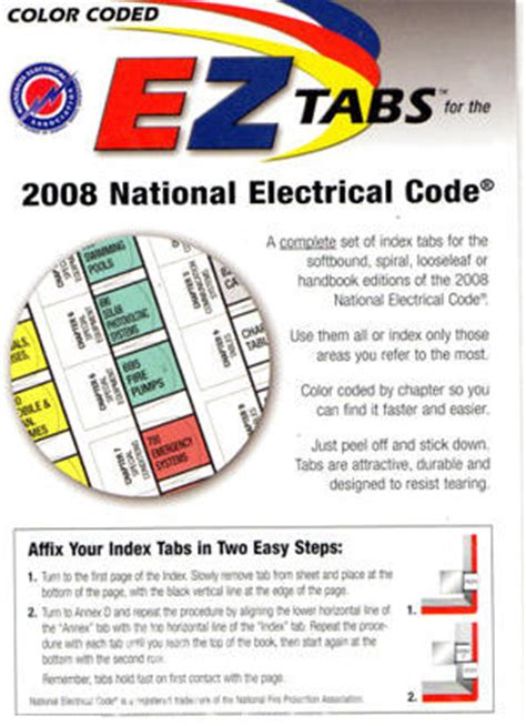 color coded ez tabs for the 2017 national electrical code tnt color coded ez tabs for 2008 2011 and 2014 nec book