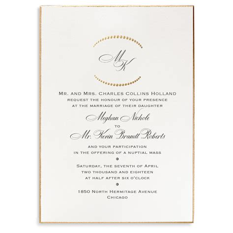 Formal Wedding Invitations monogram etiquette for wedding invitations