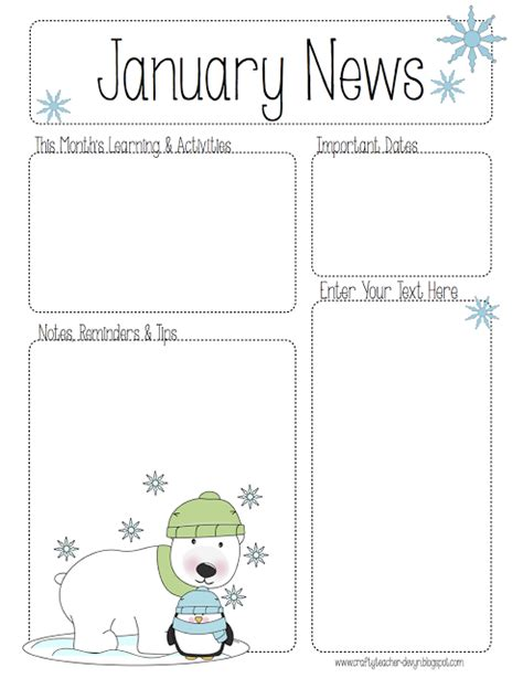 january newsletter template the crafty preschool winter newsletter template