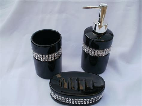 Bling Bathroom Accessories 3 Black Ceramic Diamante Sparkle Bling Bathroom Accessory Set New Ebay
