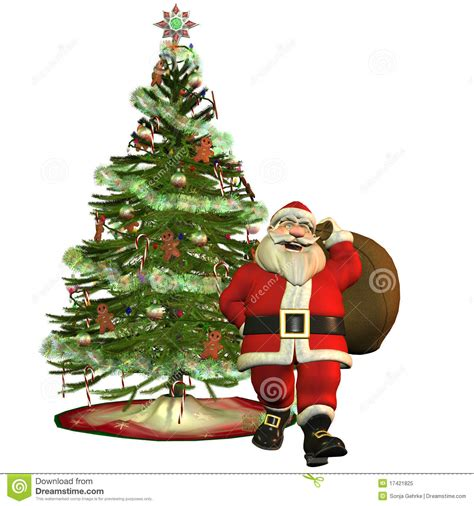 santa claus with christmas tree royalty free stock photo