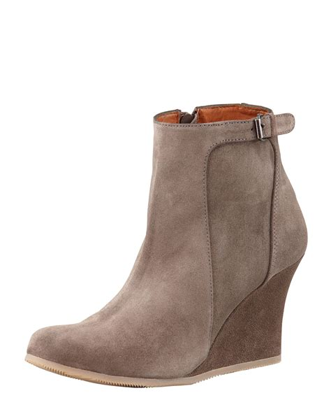 lanvin suede wedge ankle boot taupe in gray lyst