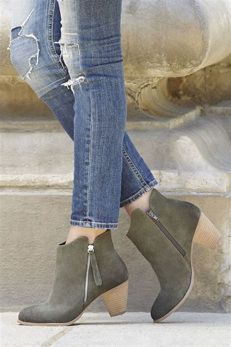 suede army green booties   chic side zipper sole