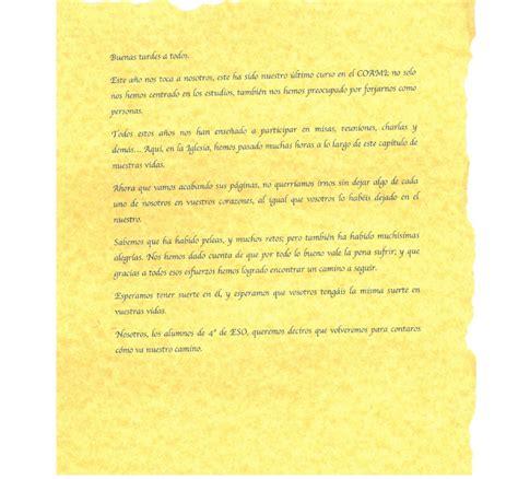 discurso de despeida del cole gio discurso de despedida de 4 186 e s o le 237 do en la eucarist 237 a