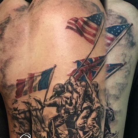 iwo jima tattoo raising the flag on iwo jima veteran ink