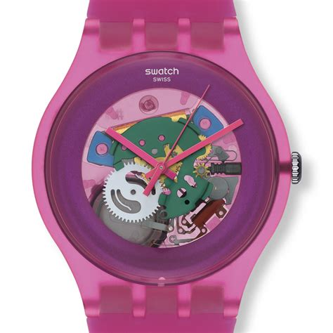 swatch watches new gent swatch pink lacquered watch suop100