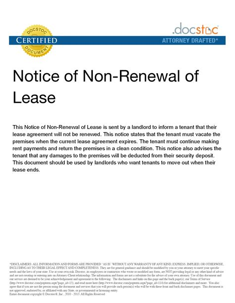 Non Renewal Of Lease Letter By Tenant Letter Of Not Renewing Lease Free Printable Documents
