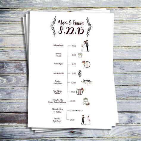 wedding timeline printable wedding program